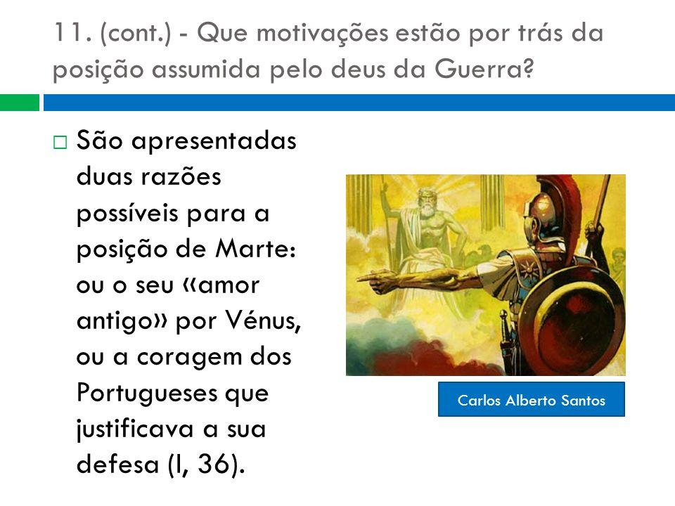 11. (cont.) - Que motivações estão por trás da posição assumida pelo deus da Guerra