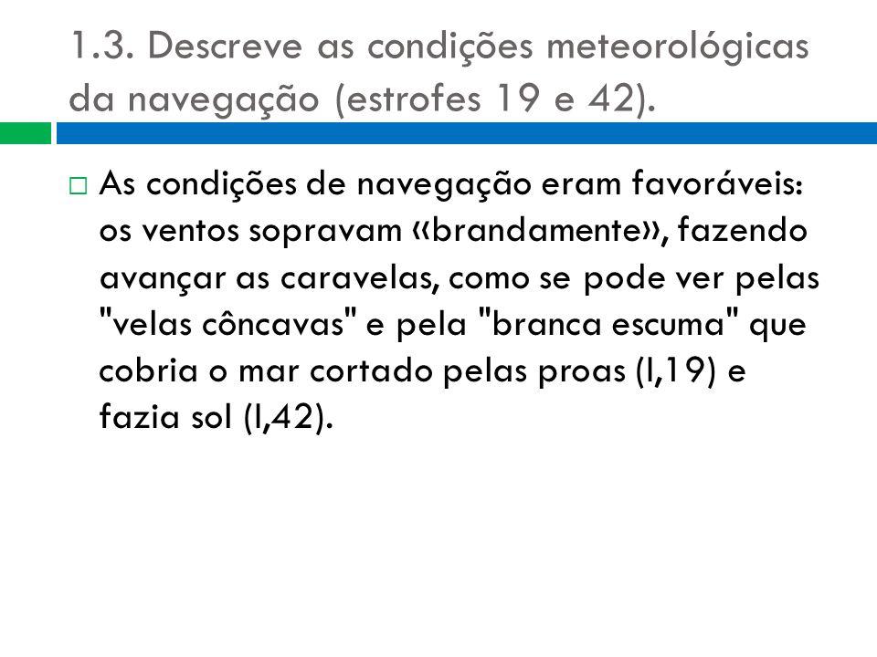 1.3. Descreve as condições meteorológicas da navegação (estrofes 19 e 42).