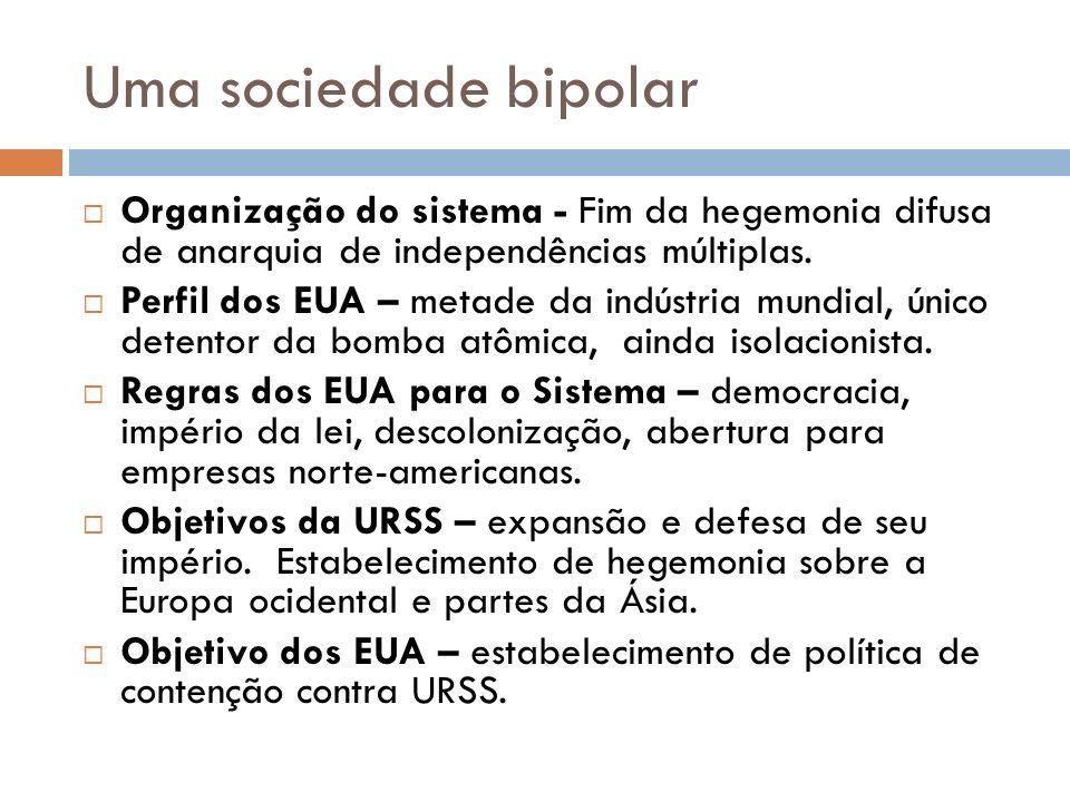 Uma sociedade bipolar Organização do sistema - Fim da hegemonia difusa de anarquia de independências múltiplas.