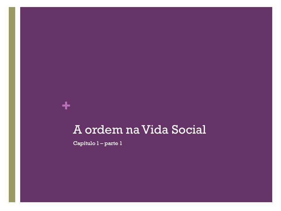 A ordem na Vida Social Capítulo 1 – parte 1