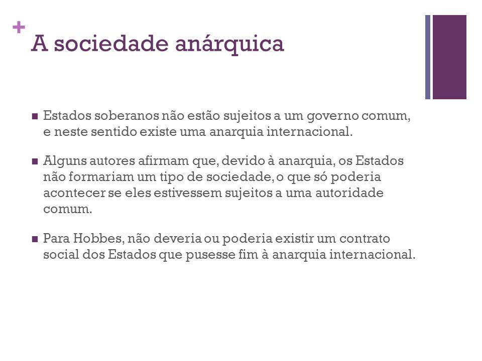 A sociedade anárquica Estados soberanos não estão sujeitos a um governo comum, e neste sentido existe uma anarquia internacional.