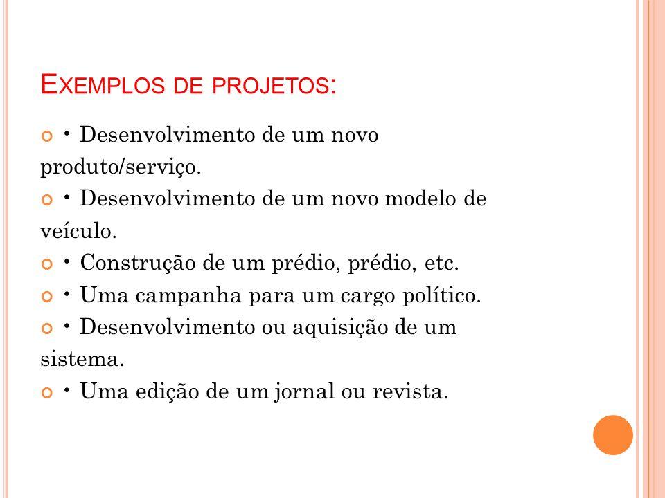 Exemplos de projetos: • Desenvolvimento de um novo produto/serviço.
