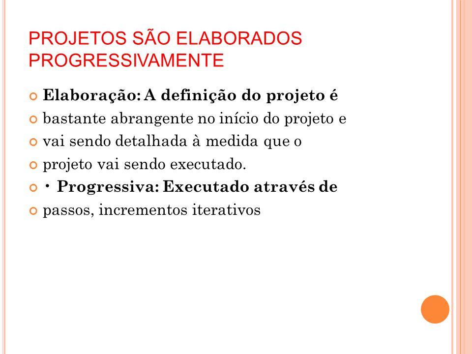 PROJETOS SÃO ELABORADOS PROGRESSIVAMENTE
