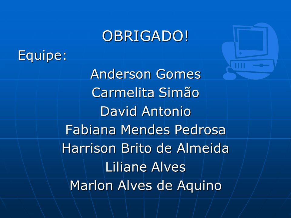 OBRIGADO! Equipe: Anderson Gomes Carmelita Simão David Antonio