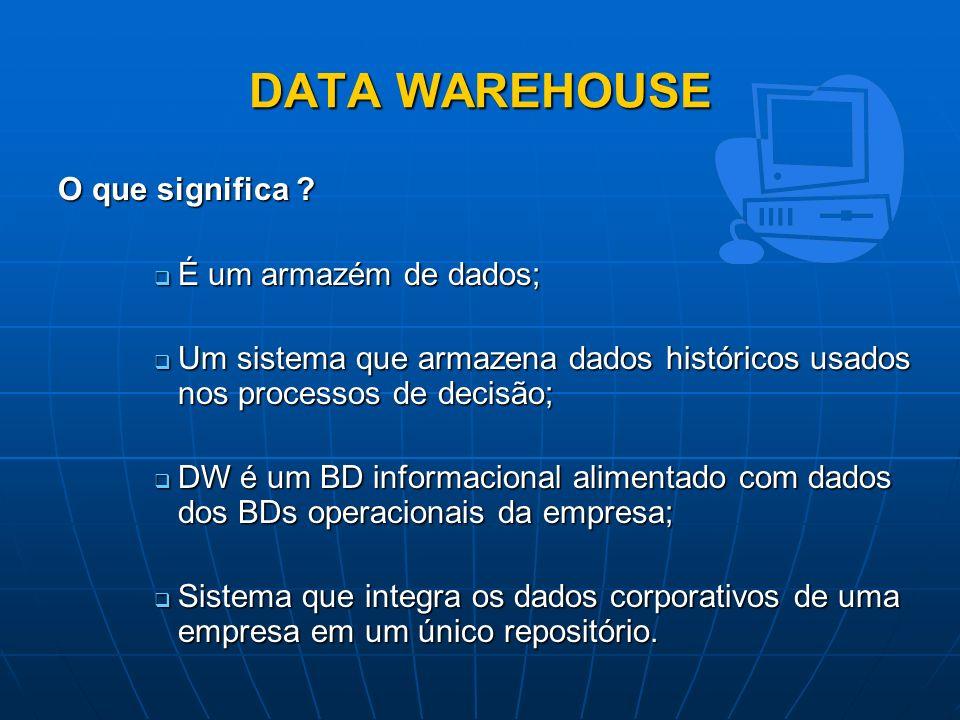 DATA WAREHOUSE O que significa É um armazém de dados;