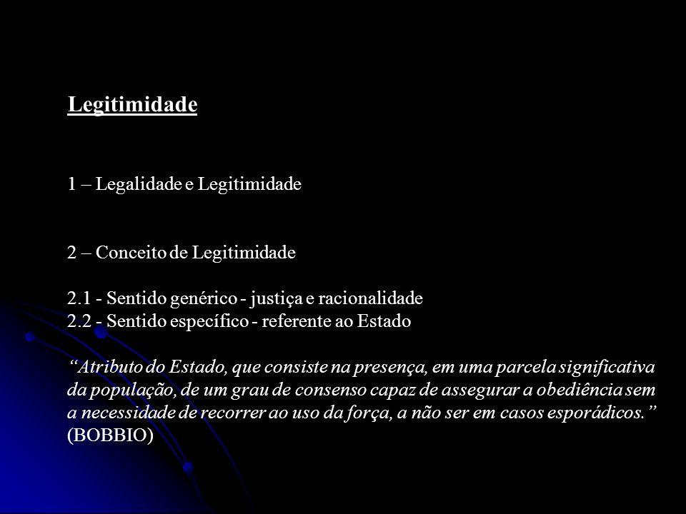 Legitimidade 1 – Legalidade e Legitimidade