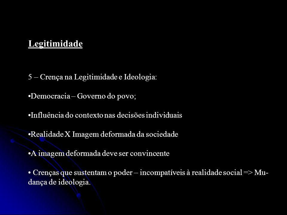 Legitimidade 5 – Crença na Legitimidade e Ideologia: