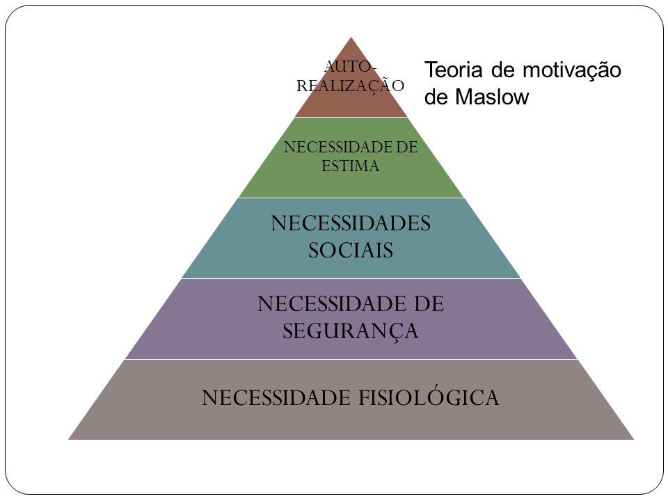 NECESSIDADE DE SEGURANÇA NECESSIDADE FISIOLÓGICA