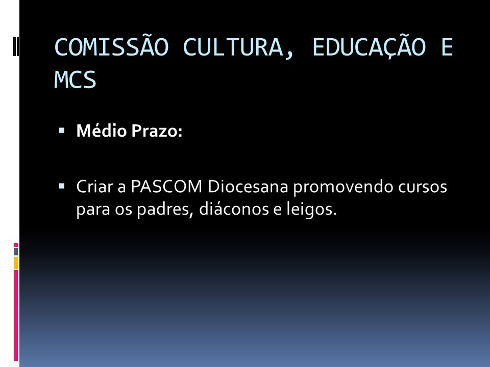 COMISSÃO CULTURA, EDUCAÇÃO E MCS