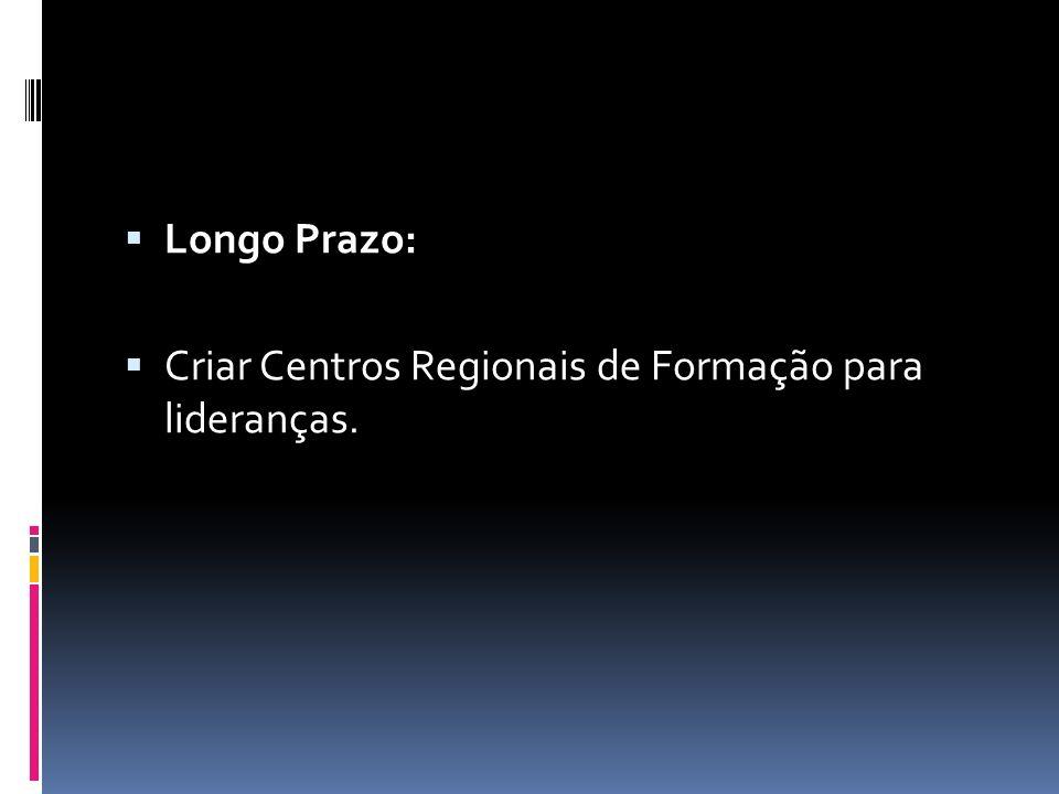 Longo Prazo: Criar Centros Regionais de Formação para lideranças.
