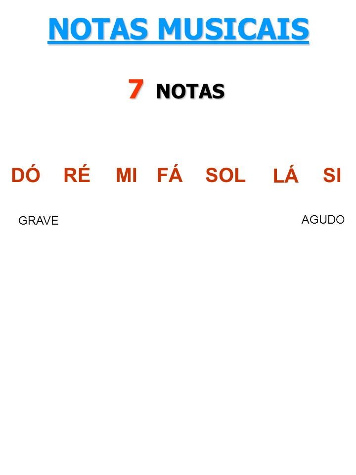 NOTAS MUSICAIS 7 NOTAS DÓ RÉ MI FÁ SOL LÁ SI GRAVE AGUDO