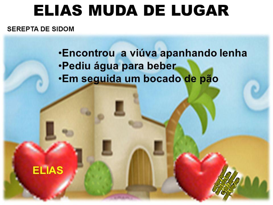 ELIAS MUDA DE LUGAR Encontrou a viúva apanhando lenha