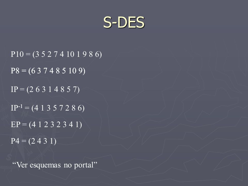 S-DESP10 = (3 5 2 7 4 10 1 9 8 6) P8 = (6 3 7 4 8 5 10 9) P8 = (6 3 7 4 8 5 10 9) IP = (2 6 3 1 4 8 5 7)