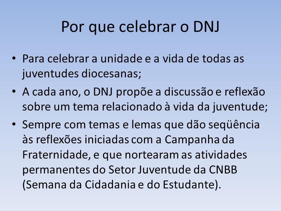 Por que celebrar o DNJ Para celebrar a unidade e a vida de todas as juventudes diocesanas;