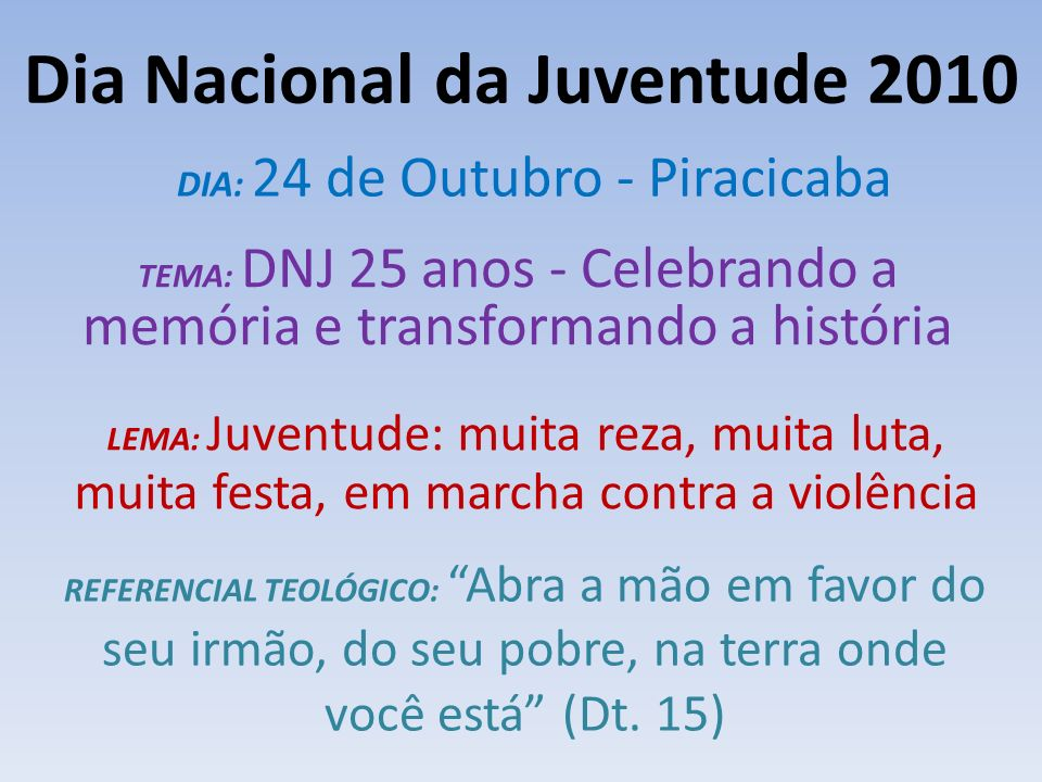 Dia Nacional da Juventude 2010