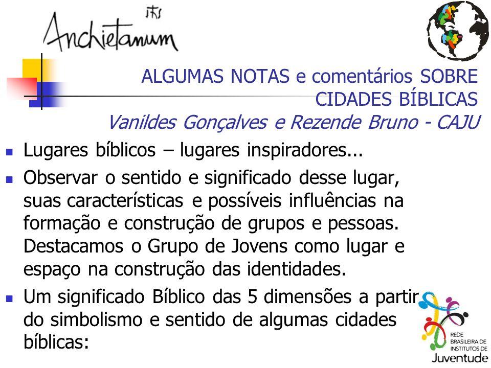 ALGUMAS NOTAS e comentários SOBRE CIDADES BÍBLICAS Vanildes Gonçalves e Rezende Bruno - CAJU