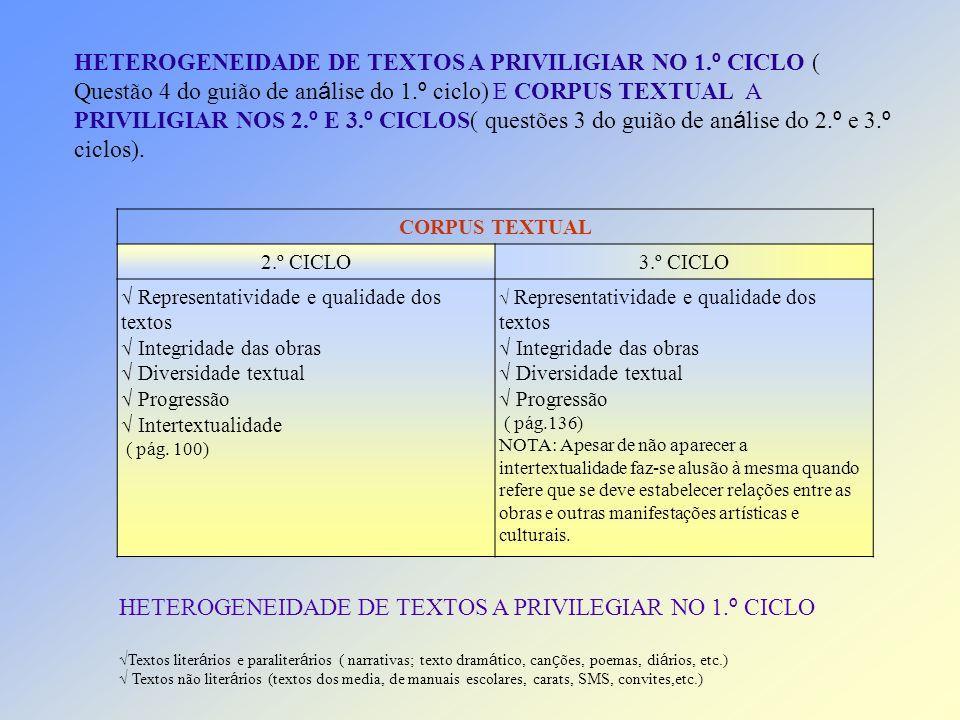 HETEROGENEIDADE DE TEXTOS A PRIVILEGIAR NO 1.º CICLO