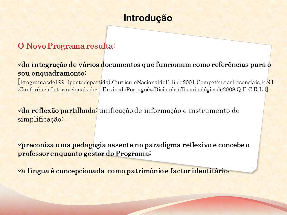 Introdução O Novo Programa resulta: