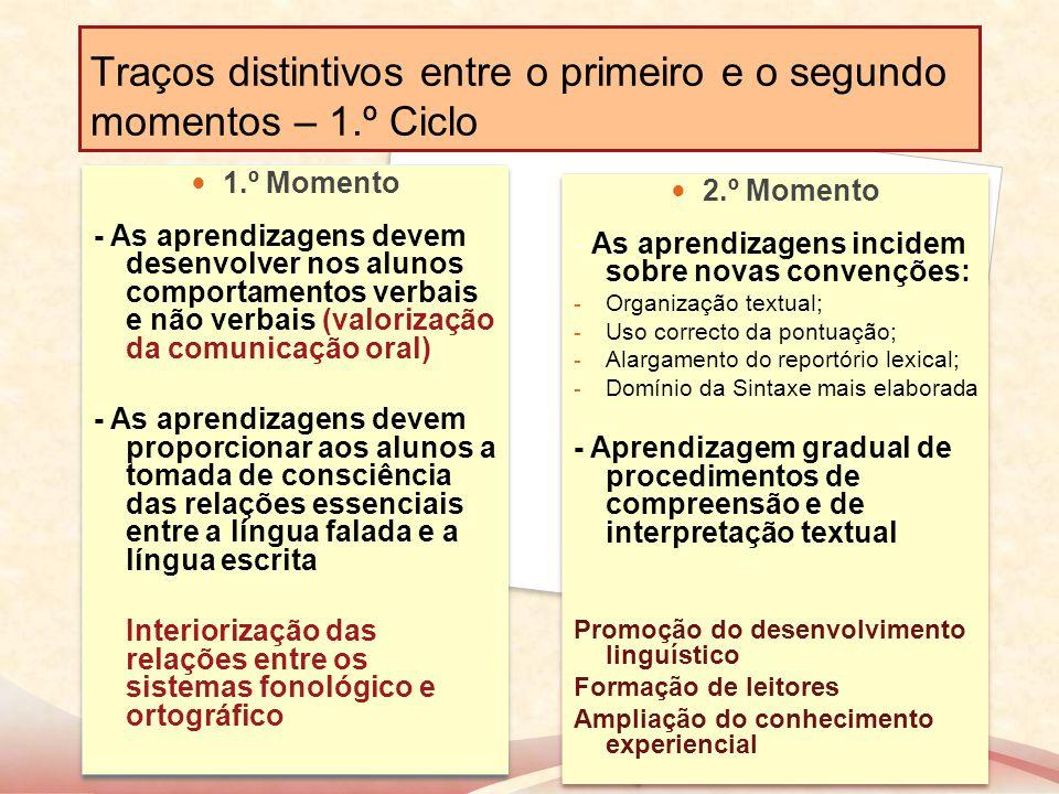 Traços distintivos entre o primeiro e o segundo momentos – 1.º Ciclo