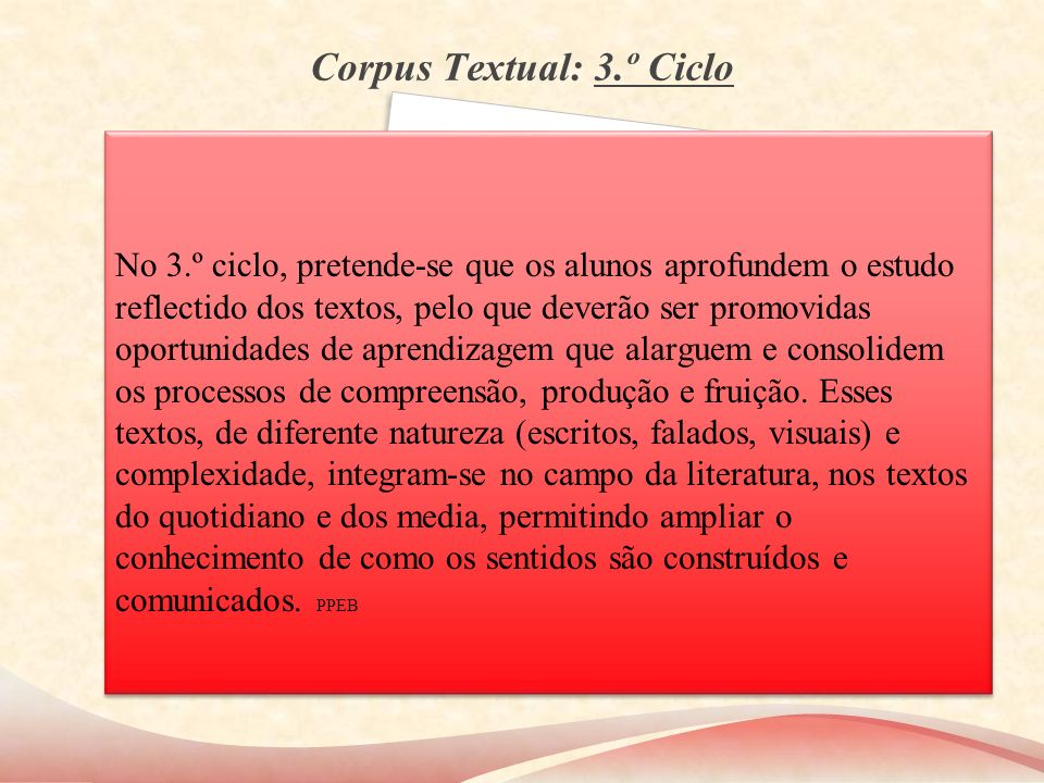 Corpus Textual: 3.º Ciclo