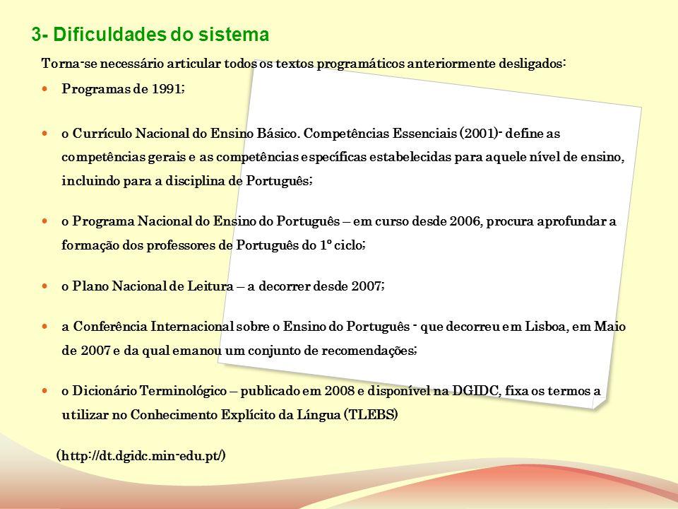 3- Dificuldades do sistema