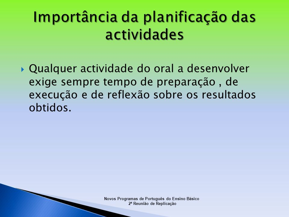 Importância da planificação das actividades