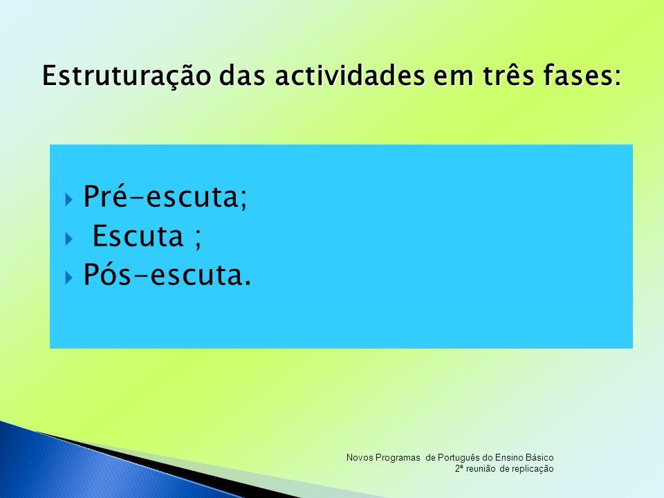Estruturação das actividades em três fases: