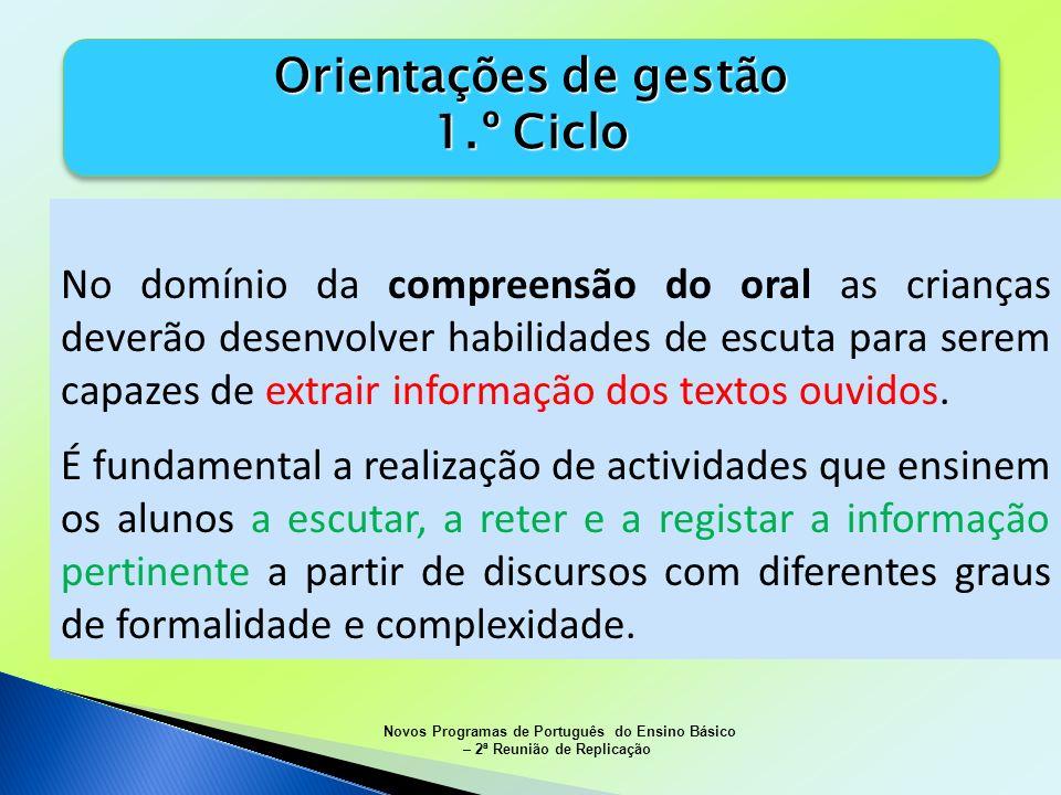 Orientações de gestão 1.º Ciclo