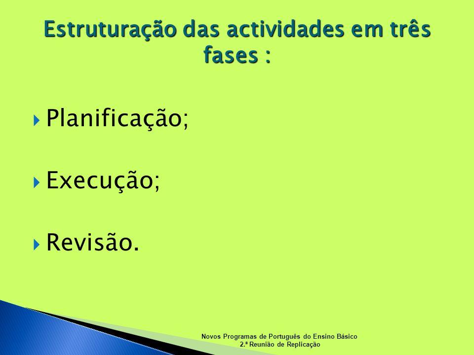 Estruturação das actividades em três fases :