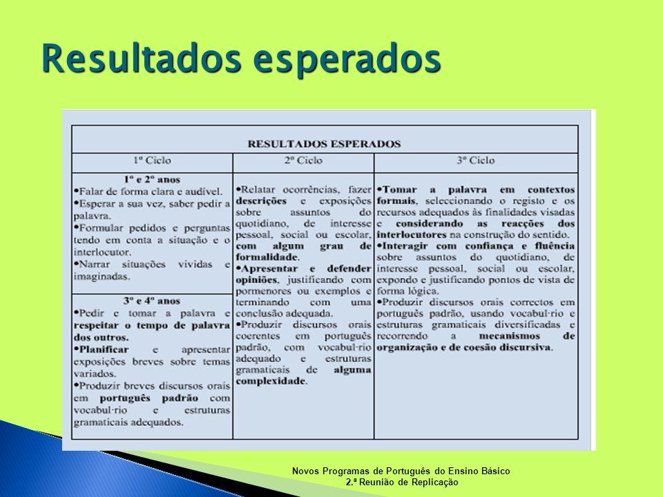 Resultados esperados Novos Programas de Português do Ensino Básico