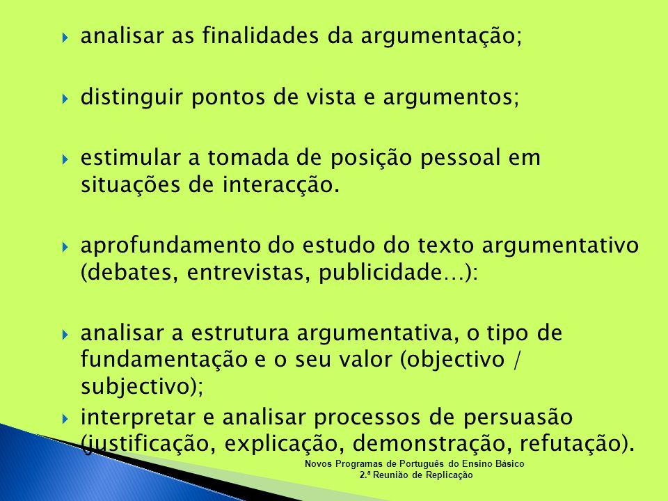 analisar as finalidades da argumentação;
