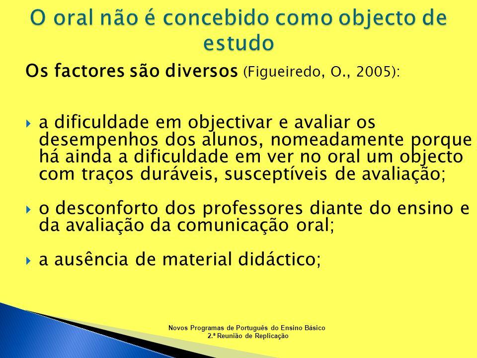 O oral não é concebido como objecto de estudo