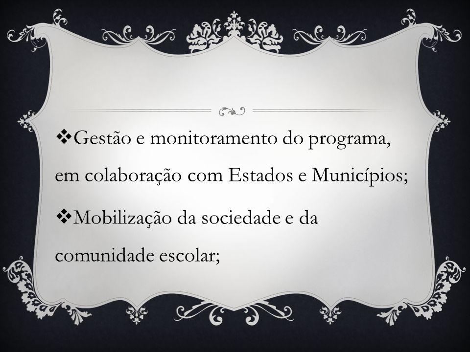 Gestão e monitoramento do programa, em colaboração com Estados e Municípios;