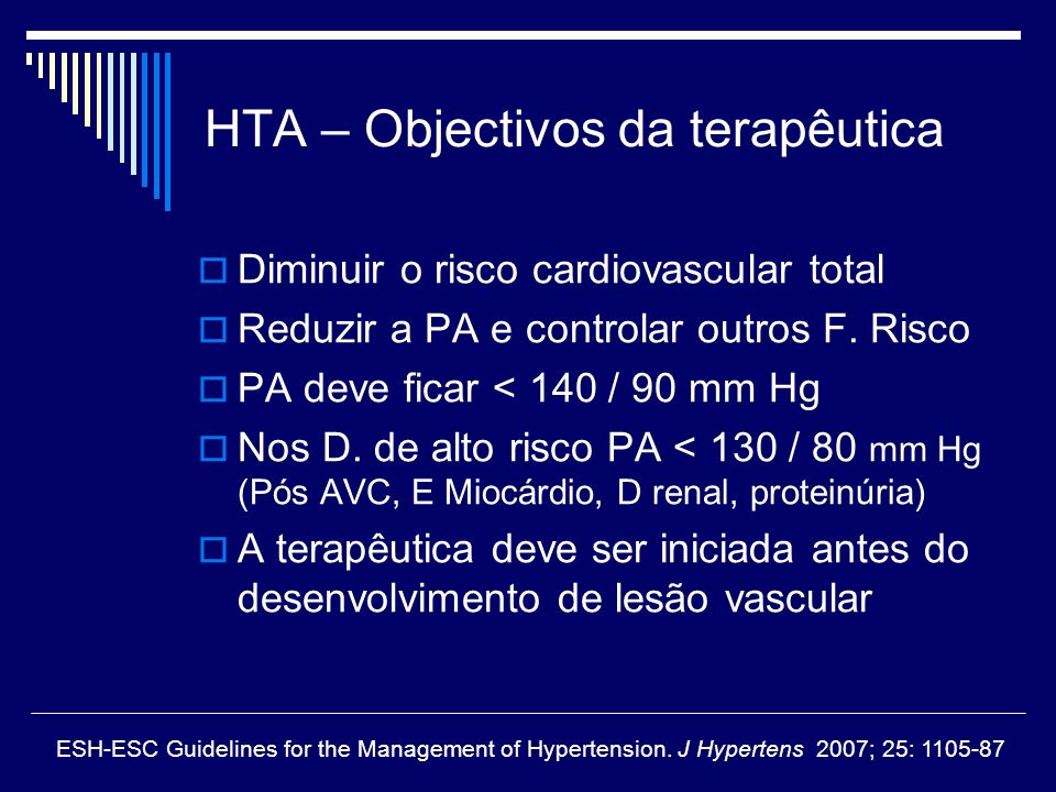 HTA – Objectivos da terapêutica