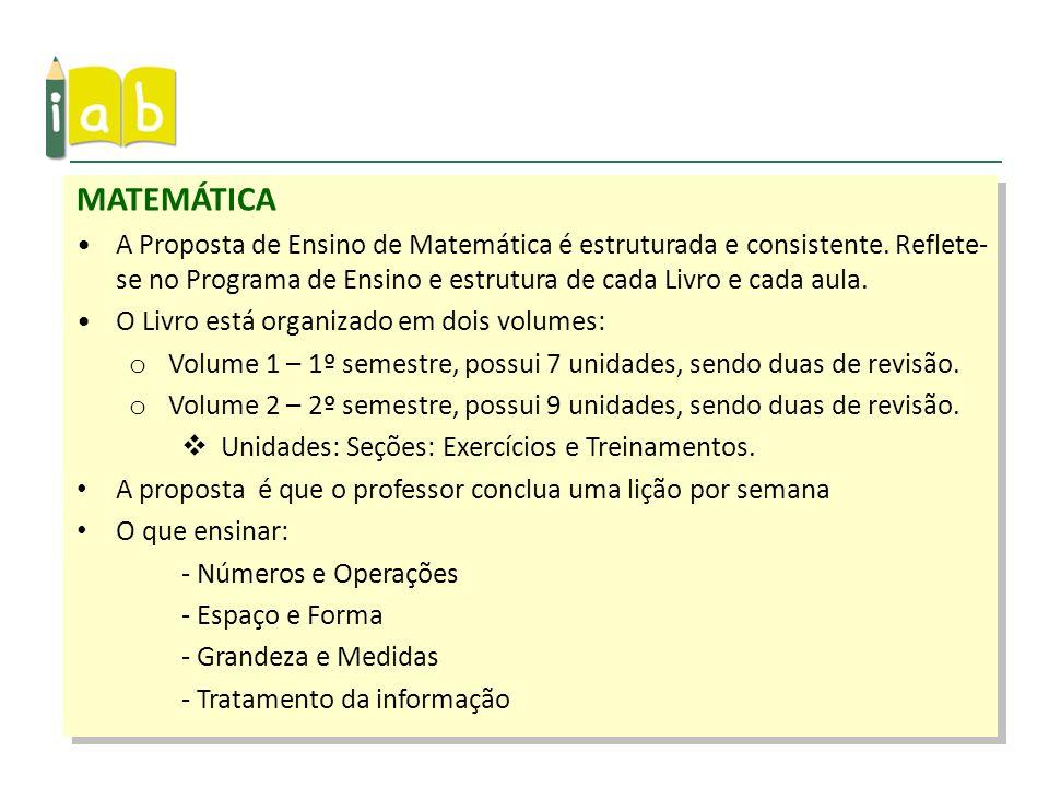 MATEMÁTICAA Proposta de Ensino de Matemática é estruturada e consistente. Reflete-se no Programa de Ensino e estrutura de cada Livro e cada aula.