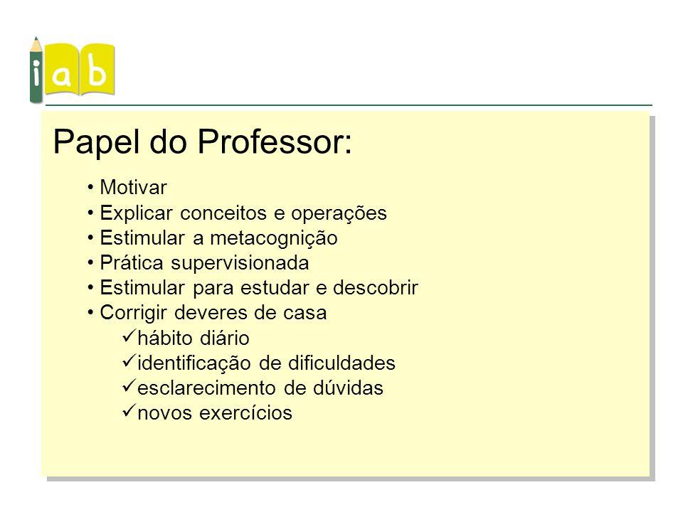 Papel do Professor: Motivar Explicar conceitos e operações
