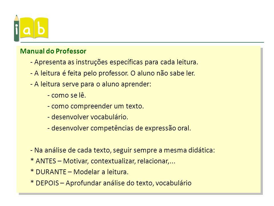 Manual do Professor - Apresenta as instruções específicas para cada leitura. - A leitura é feita pelo professor. O aluno não sabe ler.