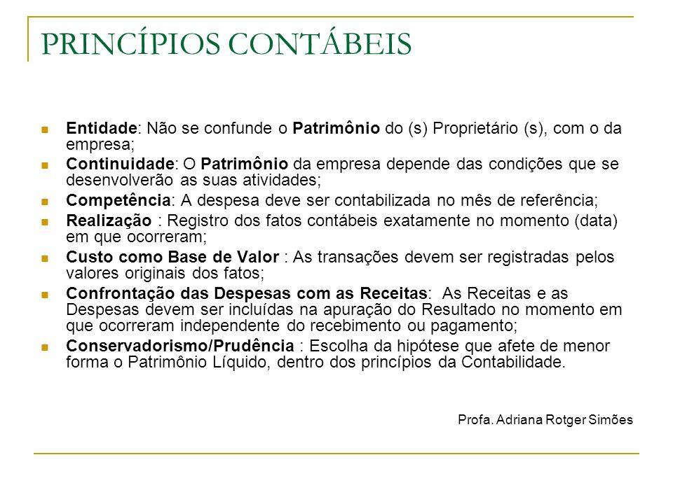 PRINCÍPIOS CONTÁBEIS Entidade: Não se confunde o Patrimônio do (s) Proprietário (s), com o da empresa;