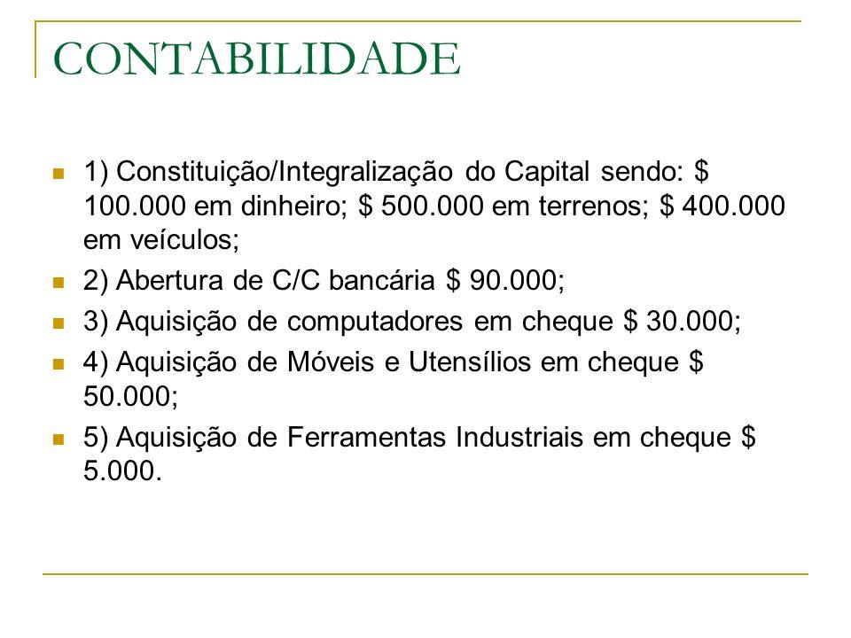 CONTABILIDADE 1) Constituição/Integralização do Capital sendo: $ 100.000 em dinheiro; $ 500.000 em terrenos; $ 400.000 em veículos;