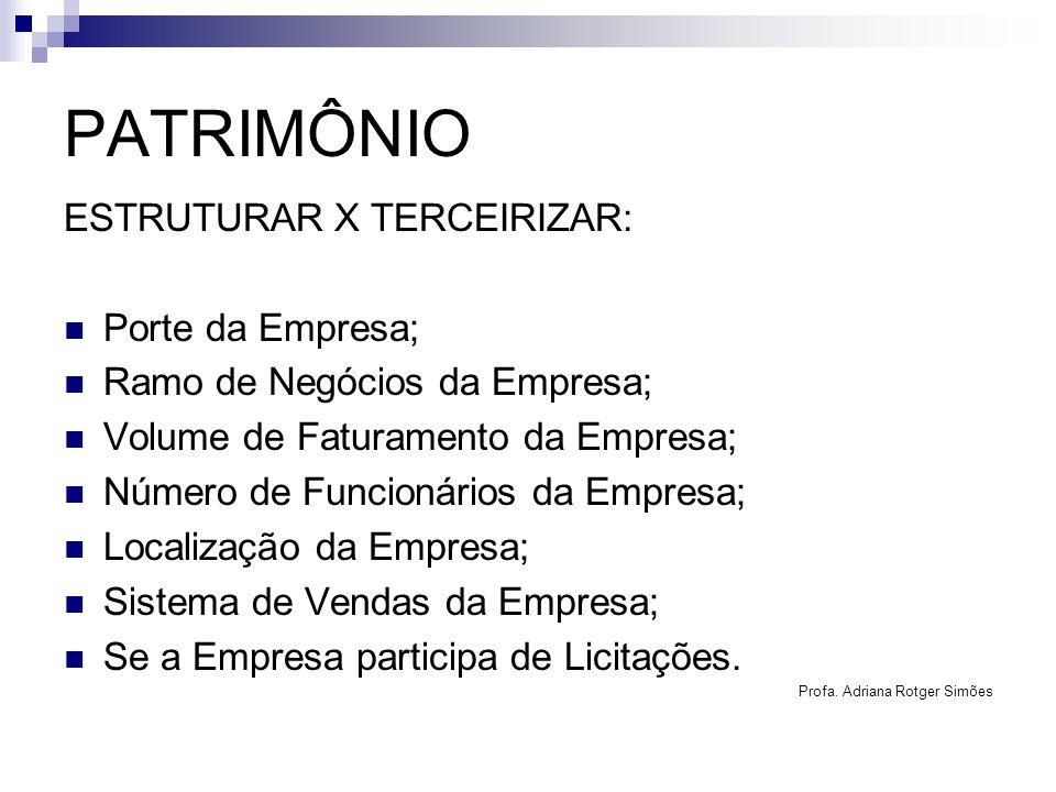 PATRIMÔNIO ESTRUTURAR X TERCEIRIZAR: Porte da Empresa;