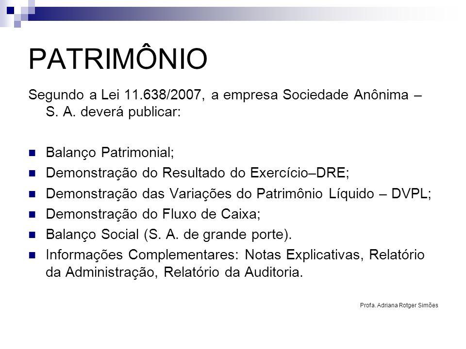 PATRIMÔNIO Segundo a Lei 11.638/2007, a empresa Sociedade Anônima – S. A. deverá publicar: Balanço Patrimonial;