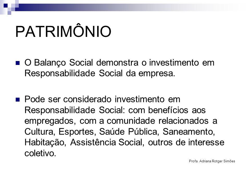 PATRIMÔNIO O Balanço Social demonstra o investimento em Responsabilidade Social da empresa.