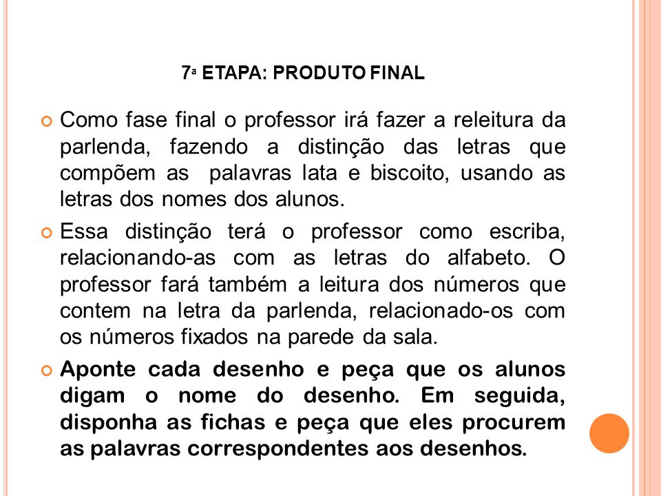 7ª ETAPA: PRODUTO FINAL