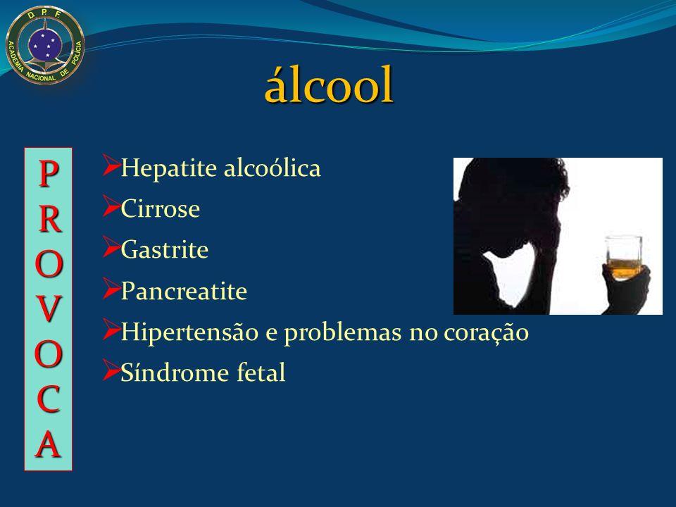 álcool PROVOCA Hepatite alcoólica Cirrose Gastrite Pancreatite