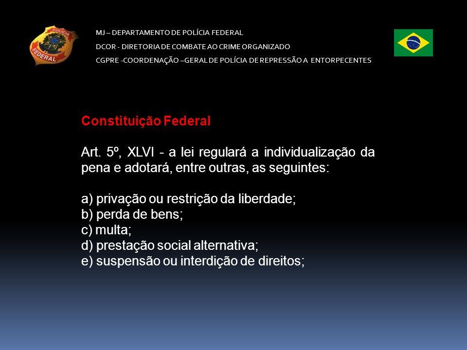 a) privação ou restrição da liberdade; b) perda de bens; c) multa;