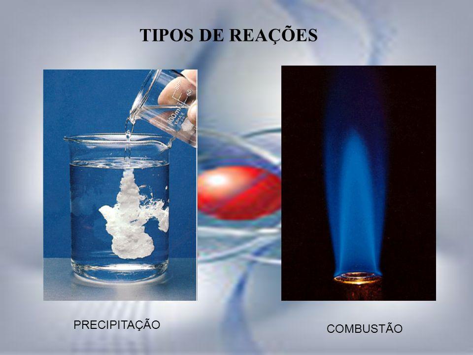 TIPOS DE REAÇÕES PRECIPITAÇÃO COMBUSTÃO
