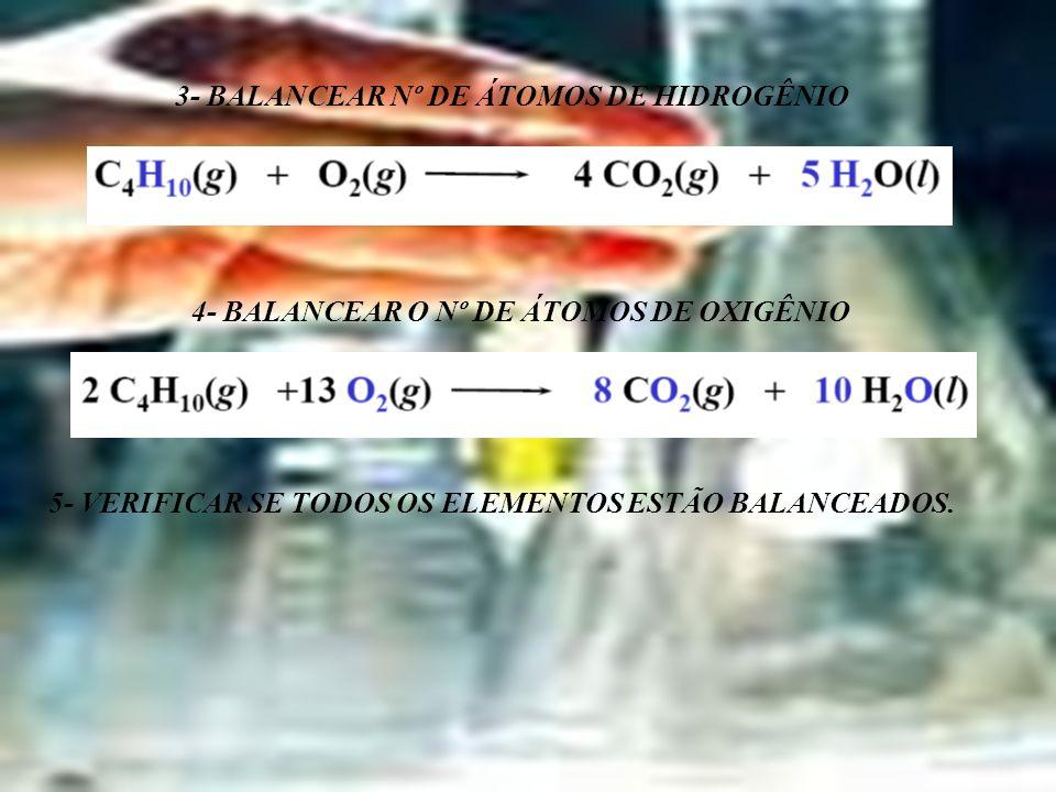 3- BALANCEAR Nº DE ÁTOMOS DE HIDROGÊNIO