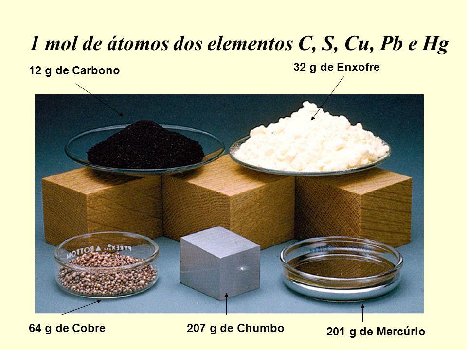 1 mol de átomos dos elementos C, S, Cu, Pb e Hg