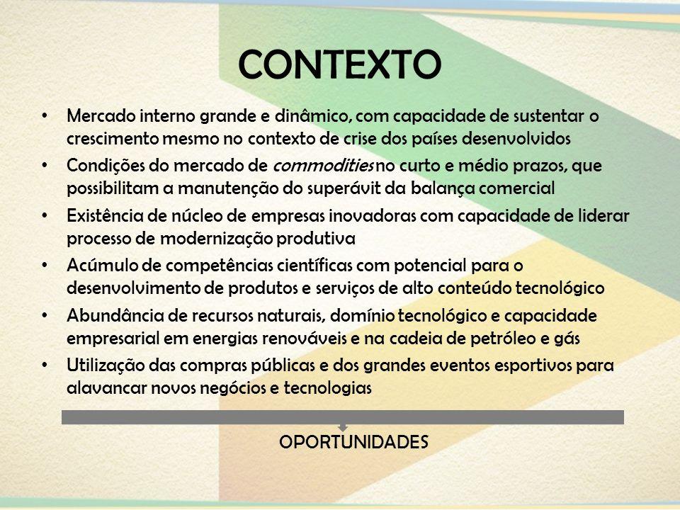 CONTEXTOMercado interno grande e dinâmico, com capacidade de sustentar o crescimento mesmo no contexto de crise dos países desenvolvidos.