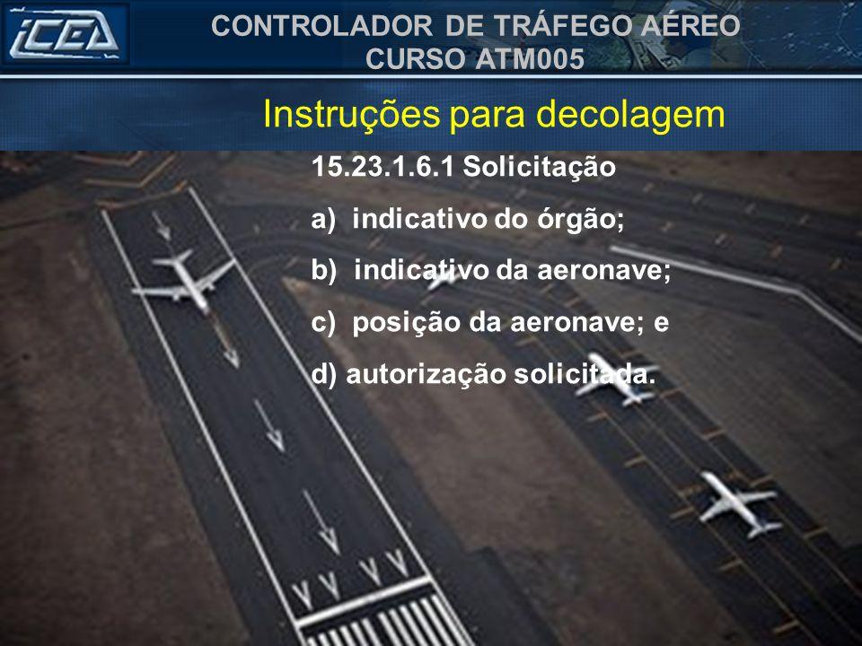Instruções para decolagem